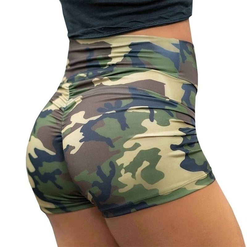 New Summer Women Fashion Camouflage Print Short Pants Elastic Waist Workout Fitness Sports Short Leggings High Waisted Shorts Sexy Underpants Plus Size