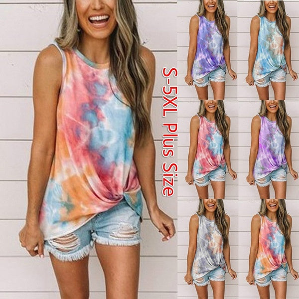 Women's Summer New Round Neck Sleeveless Tie-dye Kinked Cotton Printed Vest Casual Loose T-shirt