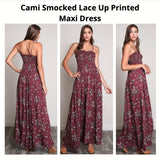 Wishlist Cami Smocked Lace Up Printed Maxi Dress