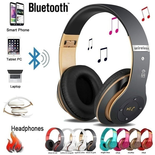 P47/S6 Bluetooth Headphones Sport Headsets Wireless Bluetooth 5.0 Heavy Bass Stereo Folding Auriculares with Mic Support TF SD Card The Best Holiday Gift
