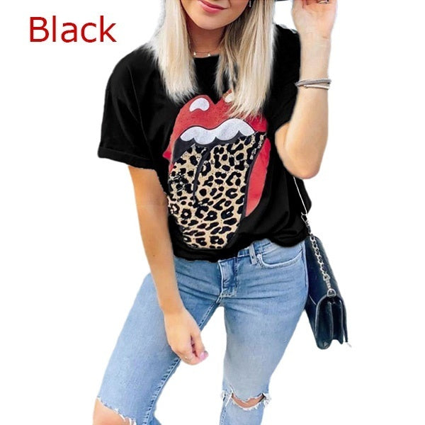 New Summer Fashion Lip Pattern Printed Women Short Sleeve T-shirt Casual Round Neck Tee Tops