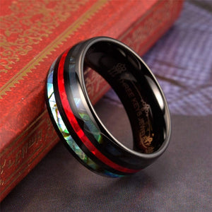 New Fashion 8mm Tungsten Steel Inlay Abalone Shell Red Opal Wedding Band Anniversary Birthday Men's Luxury Jewelry Size 6-13 Gift for Boyfriend