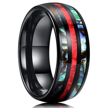 Load image into Gallery viewer, New Fashion 8mm Tungsten Steel Inlay Abalone Shell Red Opal Wedding Band Anniversary Birthday Men's Luxury Jewelry Size 6-13 Gift for Boyfriend