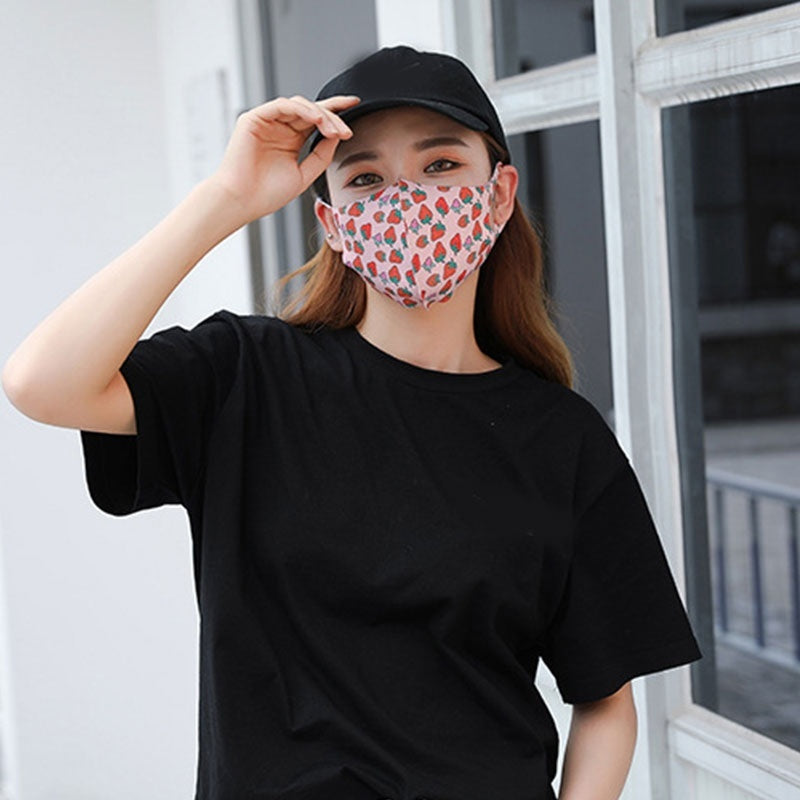 Women Mouth Mask Breathable Cotton Fashion Black Reusable Face Pink Wind Proof Flower Mouth Mask
