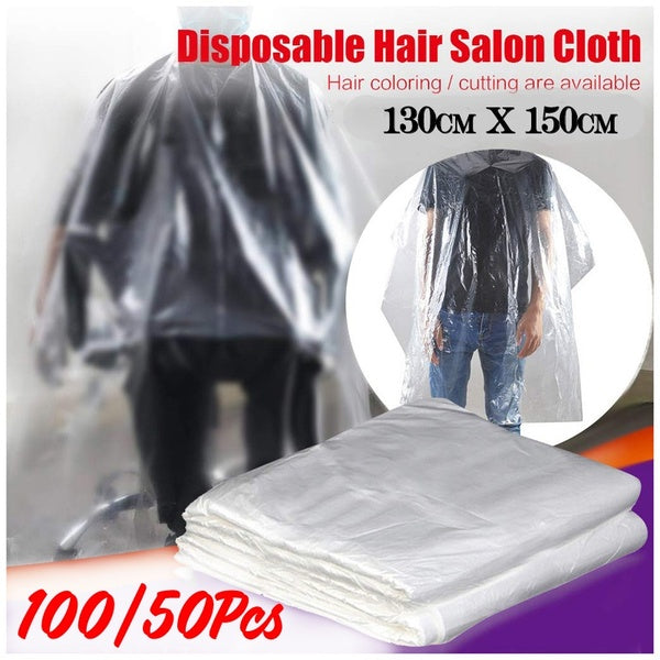 50/100 PCS Disposable Hair Cutting Cape Salon Gown,Professional Waterproof Hair Styling Cape PE Hair Cutting Salon Cape Gown Hair Salon Hairdressing Cloth
