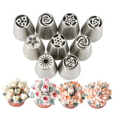 9Pcs/set DIY Cake Decorating Nozzles Stainless Steel Icing Piping Nozzle Pastry Tips Flower Cookie Chocolate Mold Baking Tool