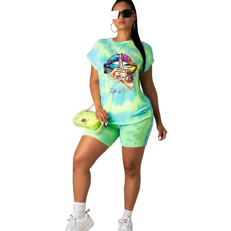 Summer Women's Fashion Sexy Colorful Lip Print O-Neck Short Sleeves T-shirt+short Pants Sets Plus Size