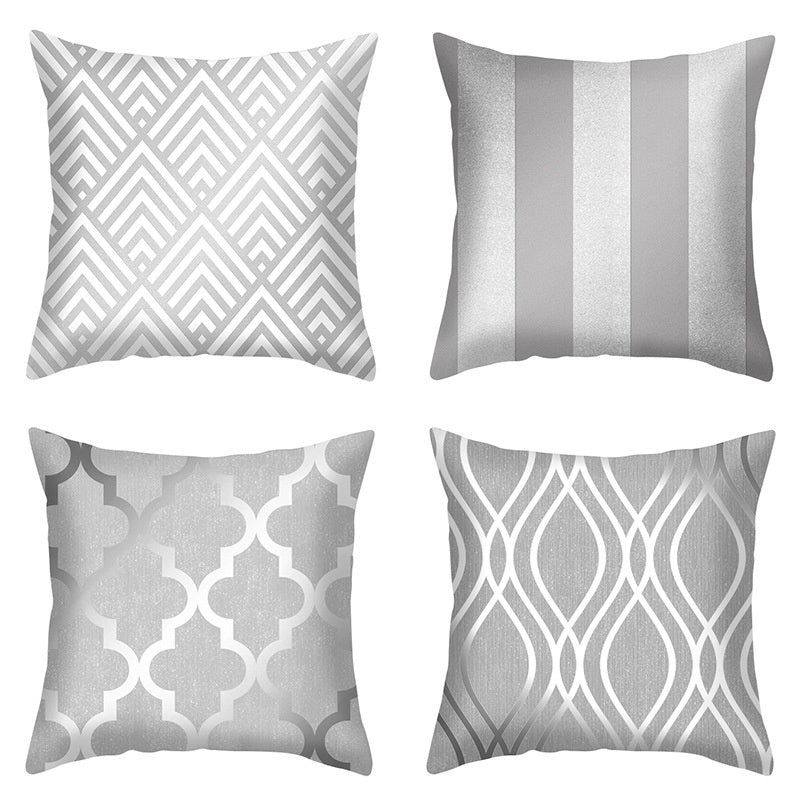 Silver Grey Geometric Series Printed Square Home Decoration Pillowcase (45Cm * 45Cm)