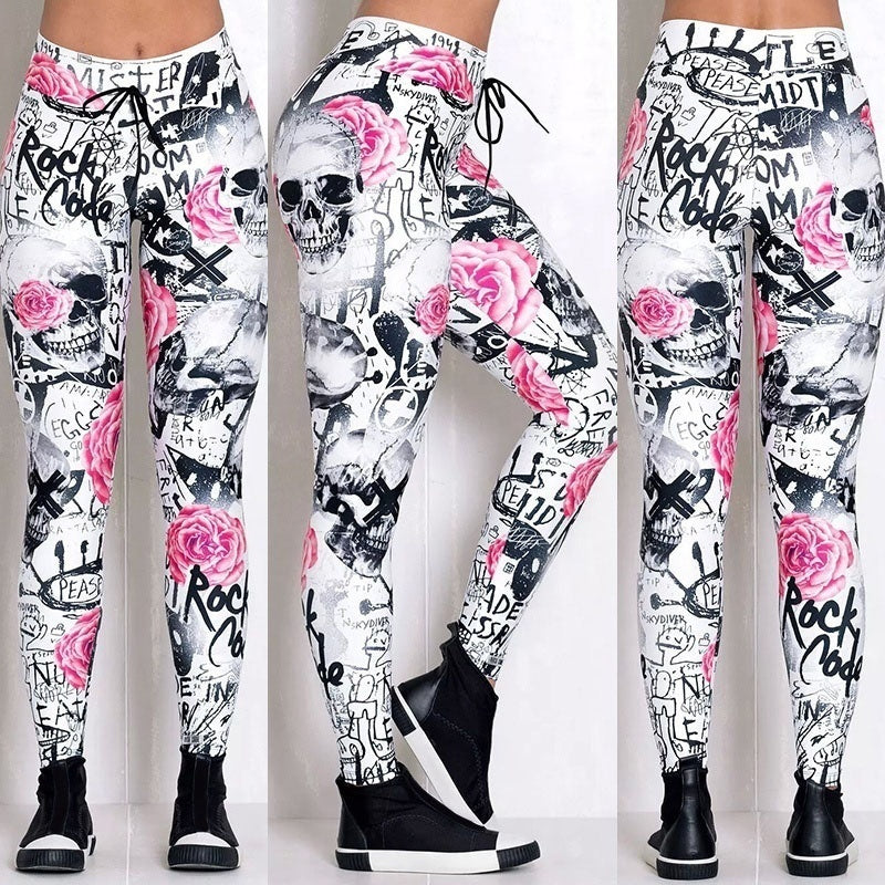 Skull and Flowers Print Casual Leggings Women Yoga Pants Leggings