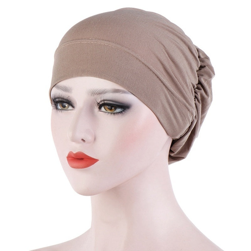 12 Colors Muslim Women'S Turban Hijab Cap Stretch Cotton Cancer Chemo Hats For Hair Loss Cross Scarf