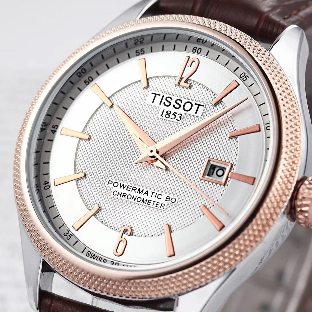 New Tissot Men and Women Date Quartz Watch Stainless Steel Band Wrist Watch Waterproof Business