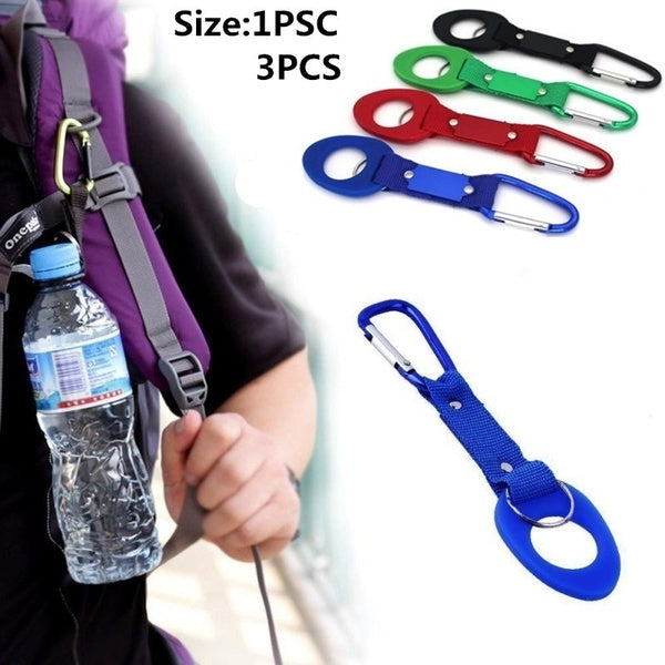 New 1-3PCS/set Sports Outdoor Kettle Buckle Carabiner Water Bottle Holder Camping Hiking Aluminum Rubber Buckle Hook high quality