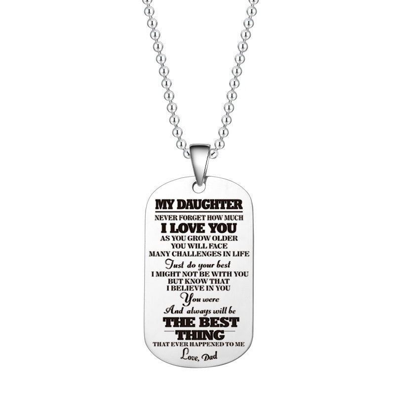 Fashion Kids Necklace Stainless Steel To My Son Daughter Just Do Your Best Love Mom Dad Dog Tag Military Necklace Birthday Graduation Christmas Gift