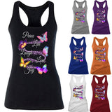 2020 Women Ladies Fashion Summer Casual Sleeveless Butterfly Print Tank Top