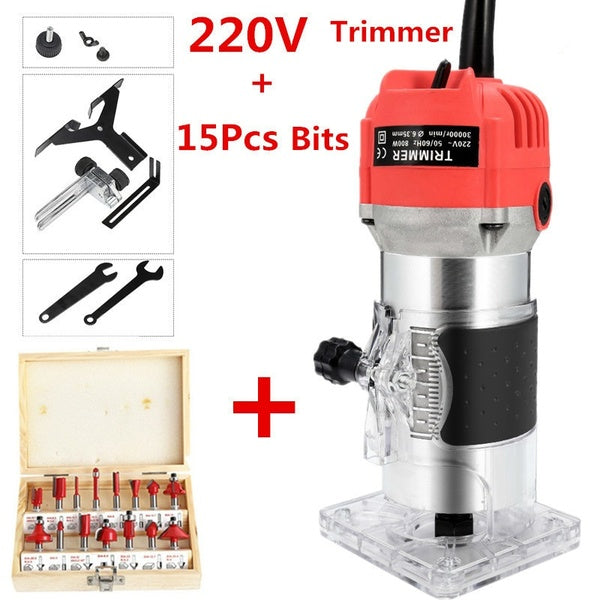 Woodworking Electric Trimmer Wood Milling Engraving Slotting Trimming Machine Hand Carving Wood Router 800W 30000rpm