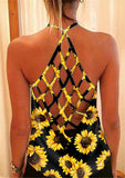 Women's Summer Fashion Sexy Off Shoulder Vest Casual Loose Sunflower Print Sleeveless T-Shirts Solid Color Backless Camisole Pullover Tank Tops