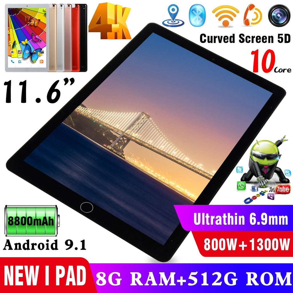 11.6 Inch Tablets Ten Core 8+512GB WiFi Tablet PC Android 9.1  2560*1600 IPS Screen Dual Sim Card Call Phone Tablets Pc Dual Camera Rear 13.0 MP IPS Tablet PC