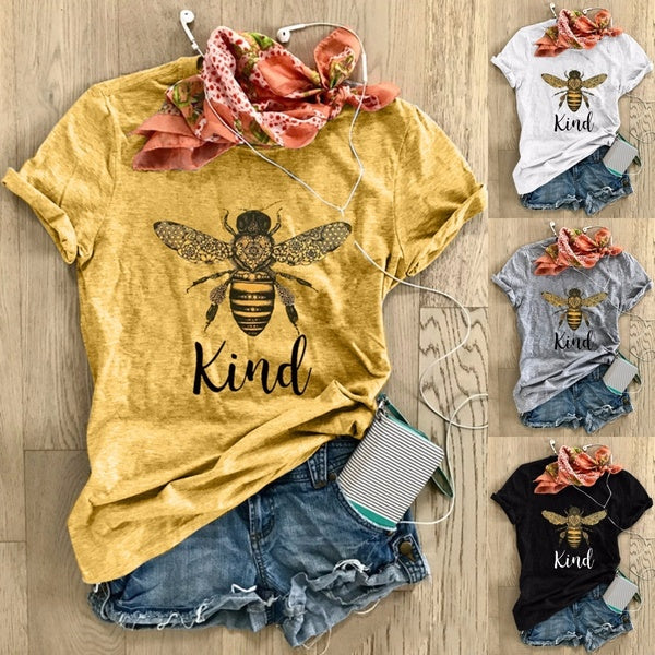 4 Colors BEE-kind Letter Print Funny Graphic T-shirts Women Round Collar Cotton Short Sleeve T Shirts Top Blouse / Bee Protection Tshirt