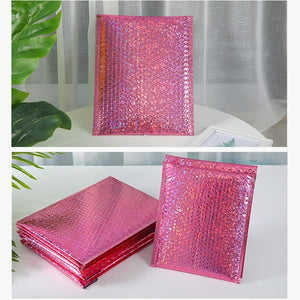 10/30PCS Laser Silver Pink Mailing Envelope Bags Waterproof Courier Bags Bubble Mailers Padded Bubble Envelopes Bag