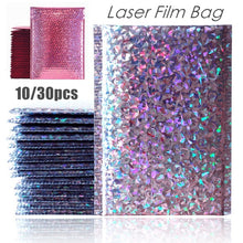 Load image into Gallery viewer, 10/30PCS Laser Silver Pink Mailing Envelope Bags Waterproof Courier Bags Bubble Mailers Padded Bubble Envelopes Bag