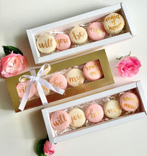 "Load image into Gallery viewer, ""Will you be my bridesmaid/maid of honor"" proposal macaron set. Packaged in a shiny gold box and tied off with a bow."