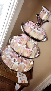 Pink and white macaron party, birthday, wedding, event favors.  Each box is wrapped in pink and white ribbon.