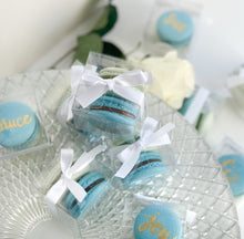 Load image into Gallery viewer, Macaron Wedding, Party, Birthday, Event Favors. Macaron Favor wrapped in ribbon and customized to wedding, party, birthday, event theme