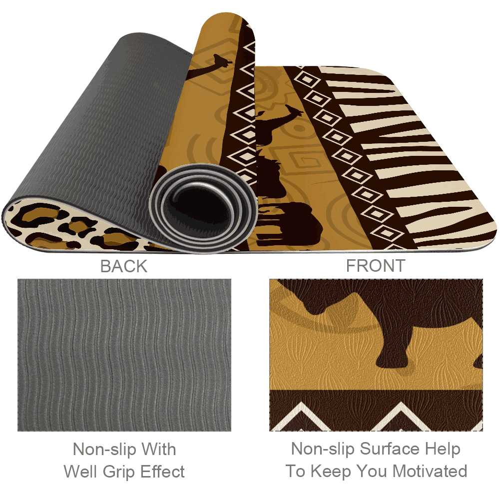 African Art Yoga Mat 6mm Thick Eco Friendly Exercise Gym Non Slip - Lorvies