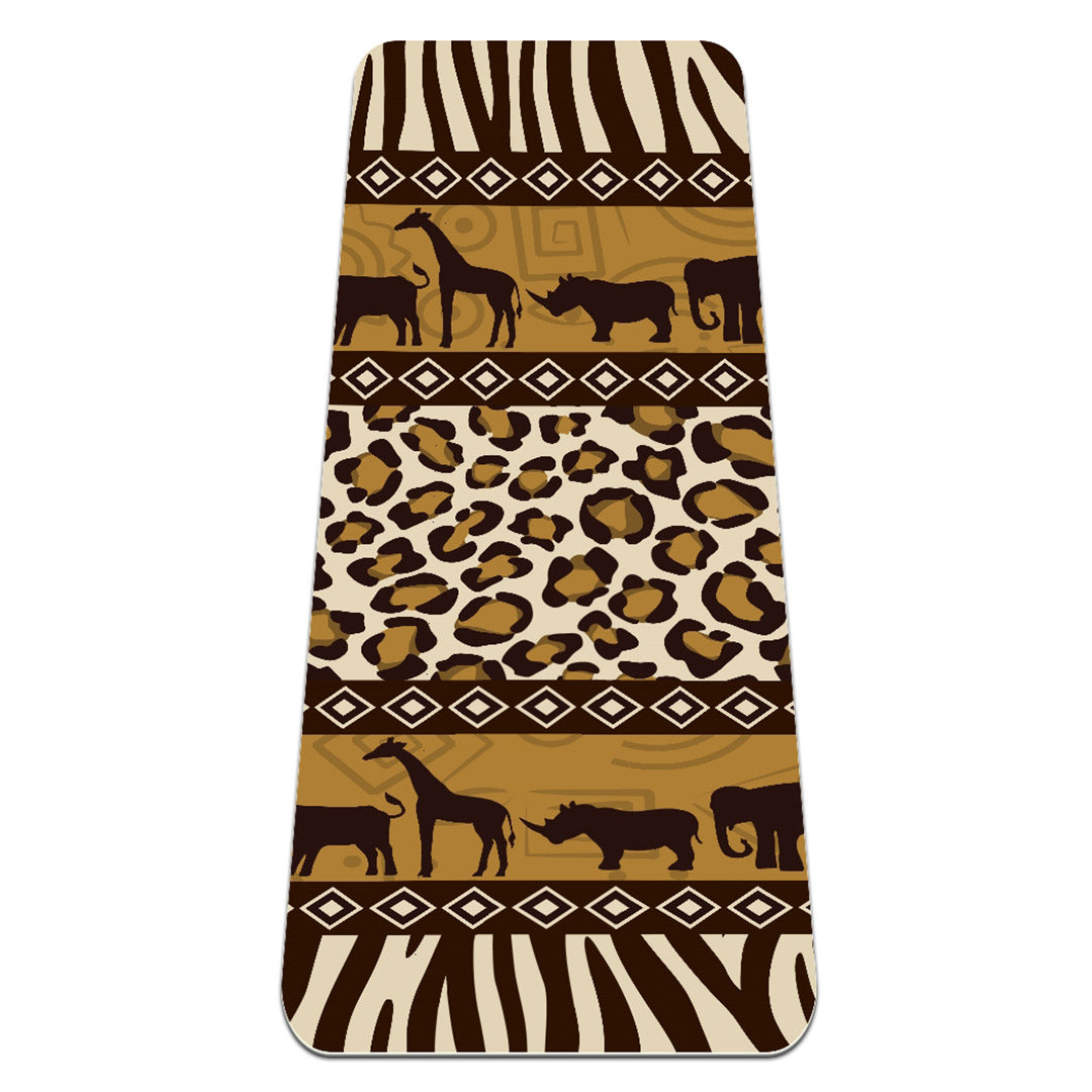 Non Slip African Art Yoga Mat 6mm Thick Eco Friendly Exercise Gym - Lorvies