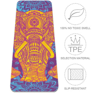 African Elephant Mandala Floral Yoga Mat TPE Workout at Home - Lorvies