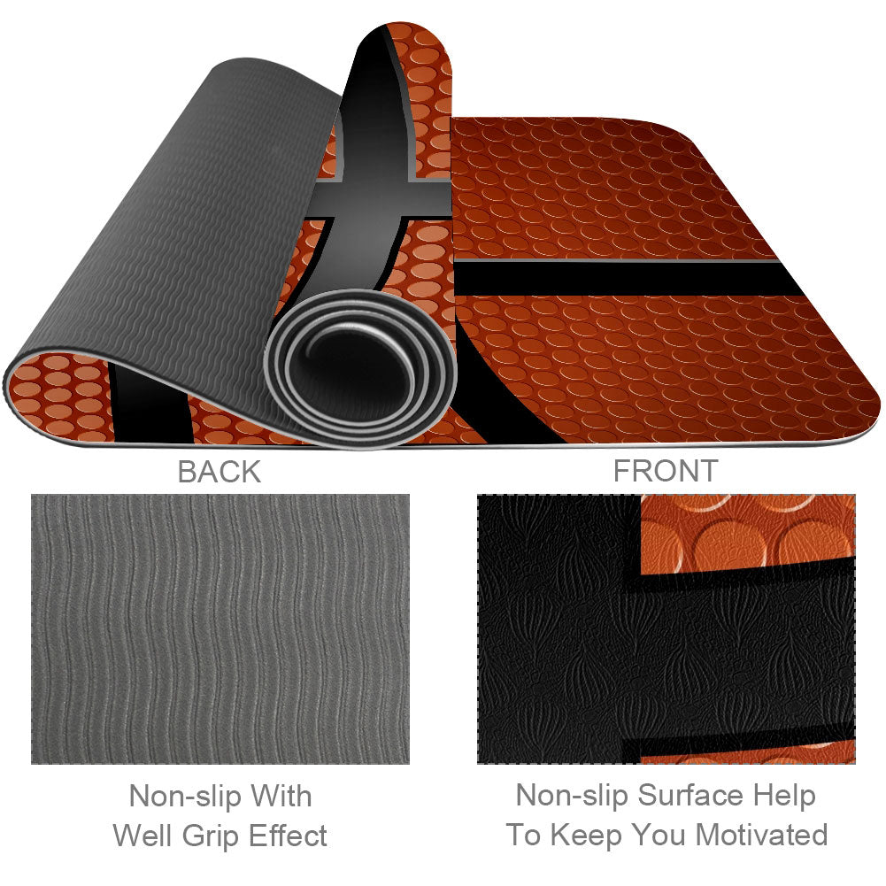 Basketball Texture Yoga Mat Eco Friendly For Bad Knees - Lorvies