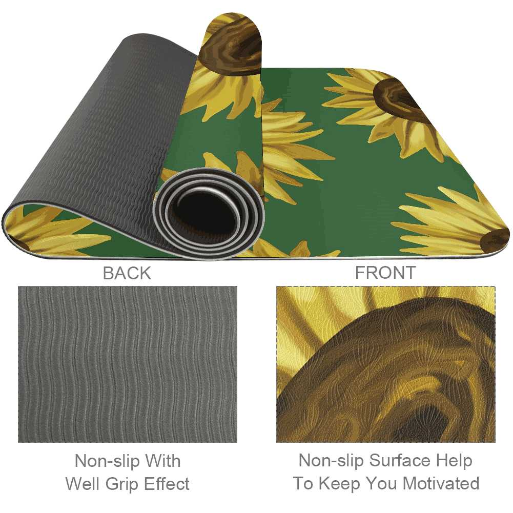 Black Eyed Susan Yoga Mat Essential for Beginner Fitness - Lorvies