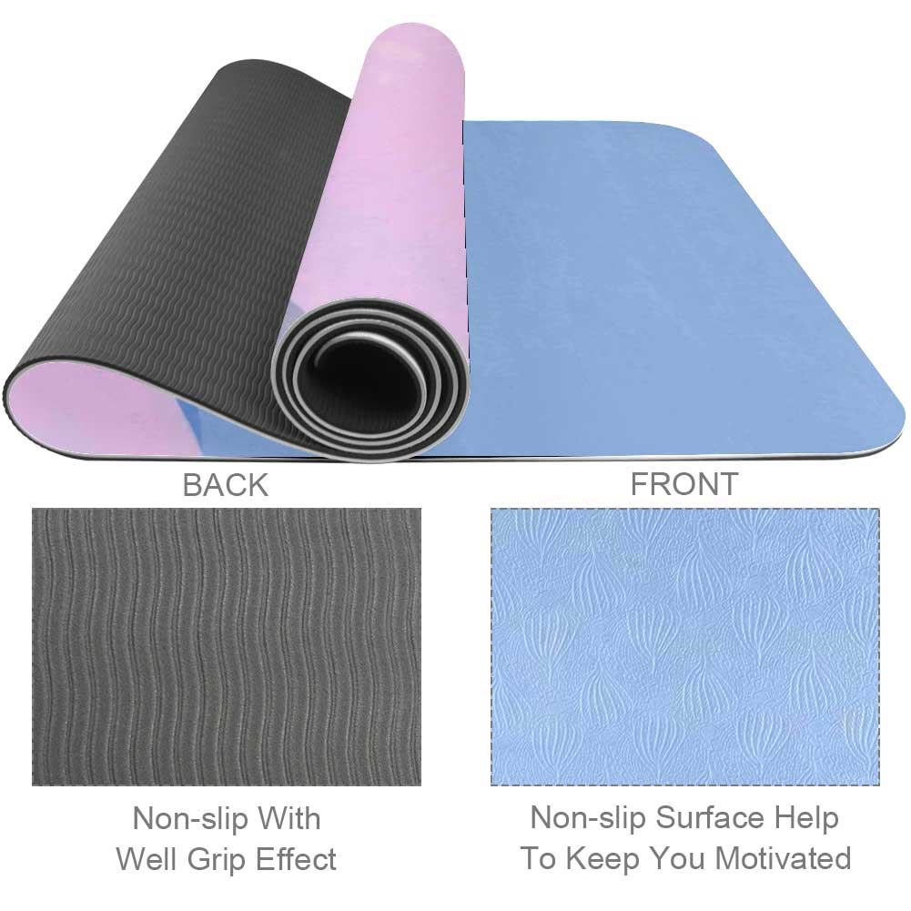 Blue Pink Painting Yoga Mat Exercise Fitness - Lorvies