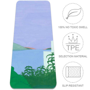 Blue Purple Painting Yoga Mat Fitness with Strap Non Slip for Beginner - Lorvies