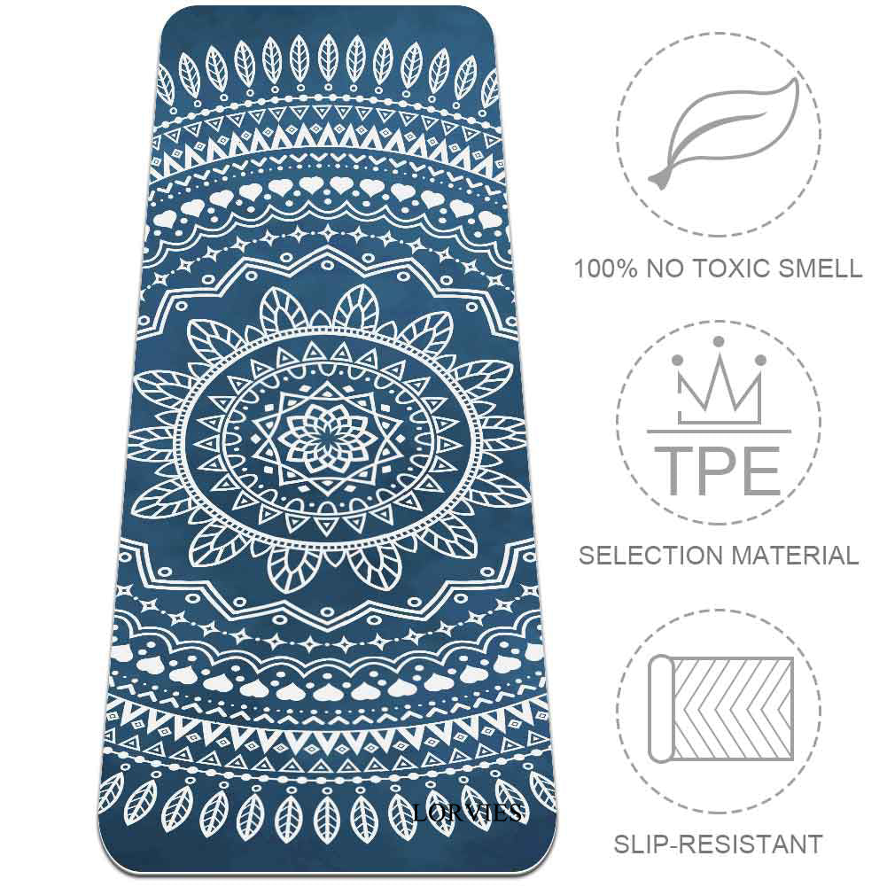 Eco Friendly Blue Watercolor Mandala Yoga Mat Best Fitness - Lorvies
