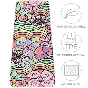 Colorful Floral Yoga Mat Essential for Beginner Home Gym Flooring - Lorvies