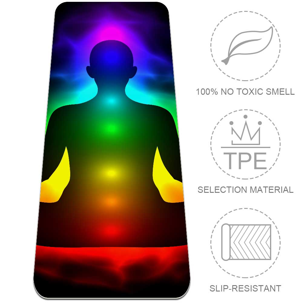 Colorful Seven Chakras And Aura Glow Yoga Mat Gym Essential for Beginner - Lorvies