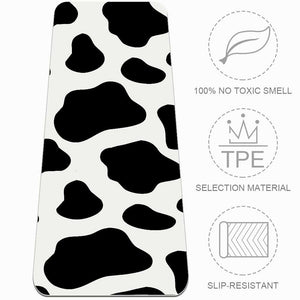 Essential Cow Print Yoga Mat Workout Exercise Gym Fitness - Lorvies