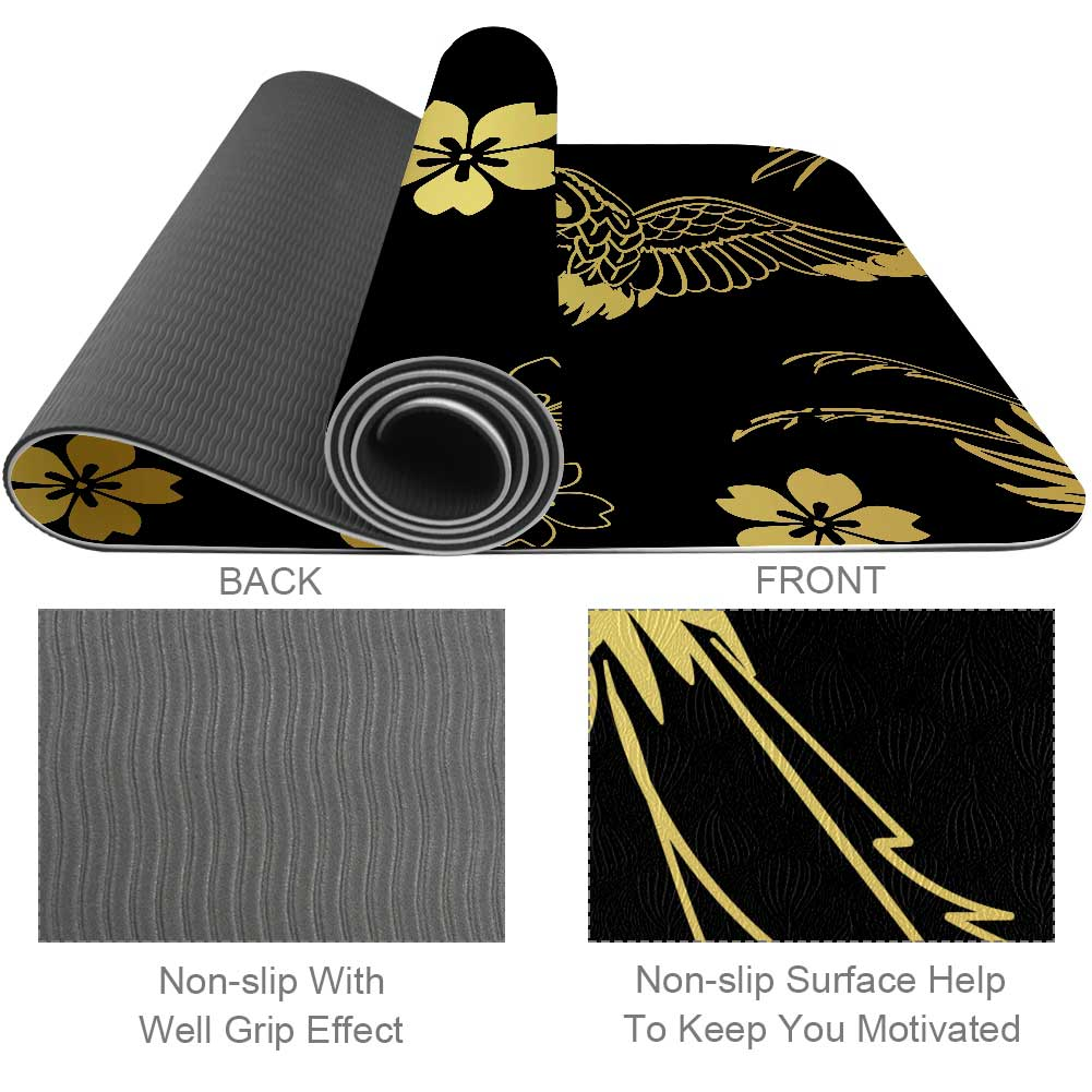 Black Crane Yoga Mat Exercise Non Slip - Lorvies