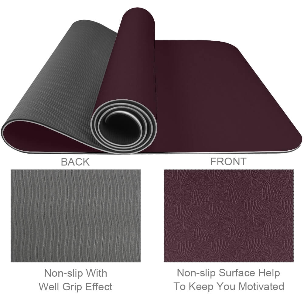 Dark Red Yoga Mat Workout Gym Eco Friendly Best TPE - Lorvies