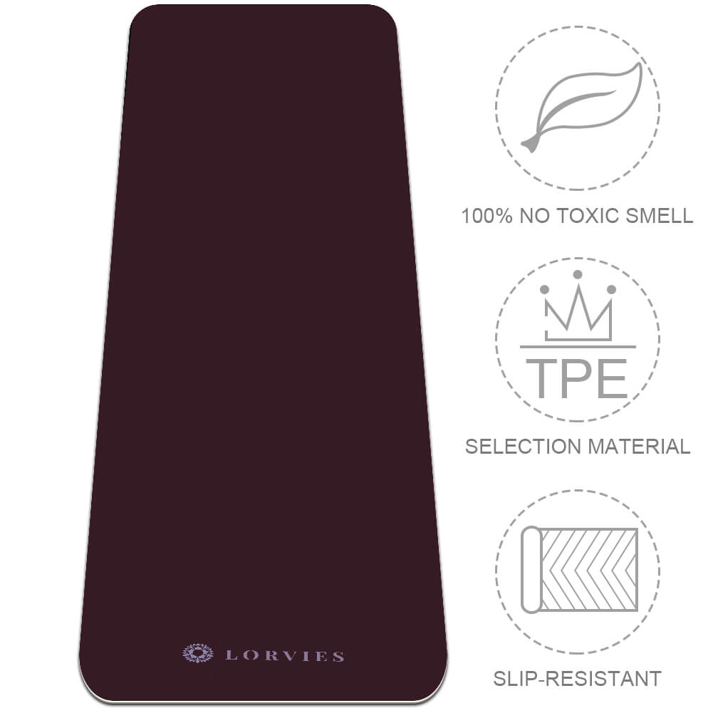 Dark Red Yoga Mat Workout Gym Fitness Eco Friendly Best TPE - Lorvies