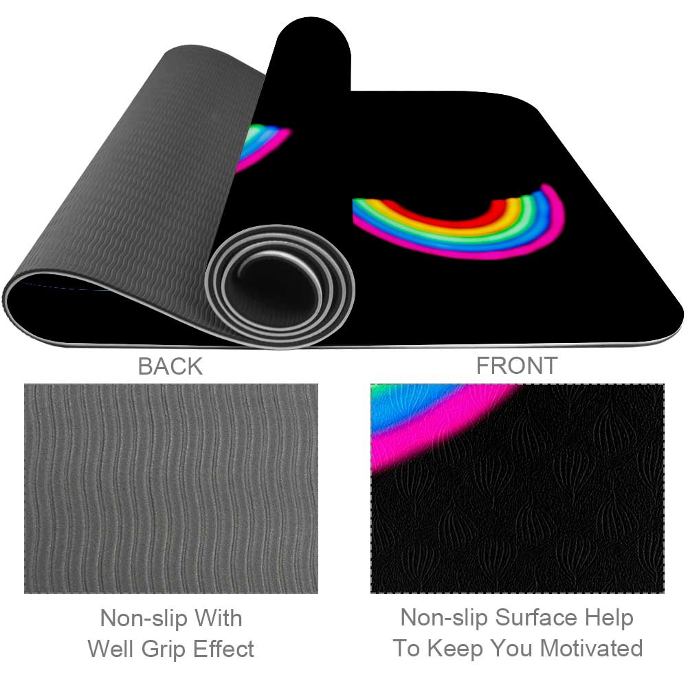 Darkness Rainbow Yoga Mat Home Gym Flooring - Lorvies