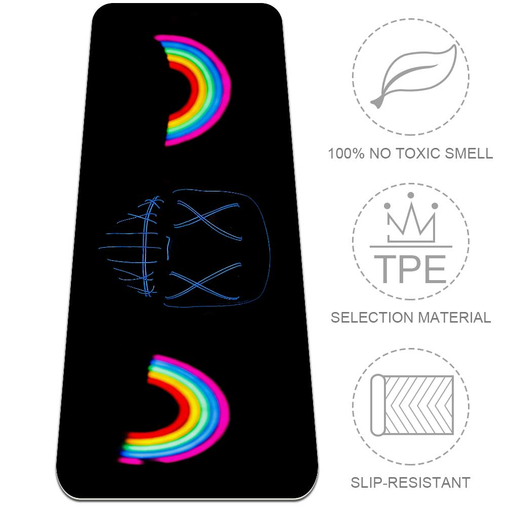 Darkness Rainbow Yoga Mat Home Gym Flooring Eco Friendly Fitness - Lorvies