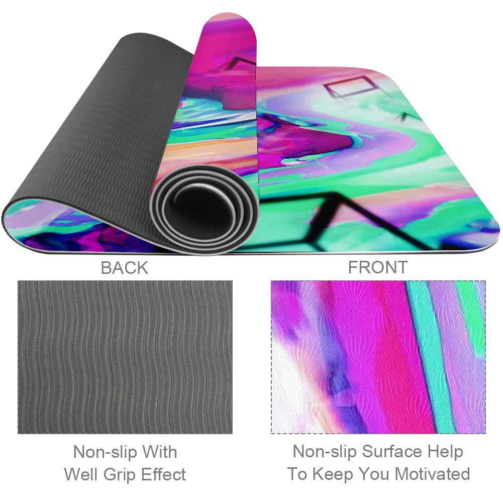 Drifting Cubes Abstract Yoga Mat Exercise Best for Beginner - Lorvies