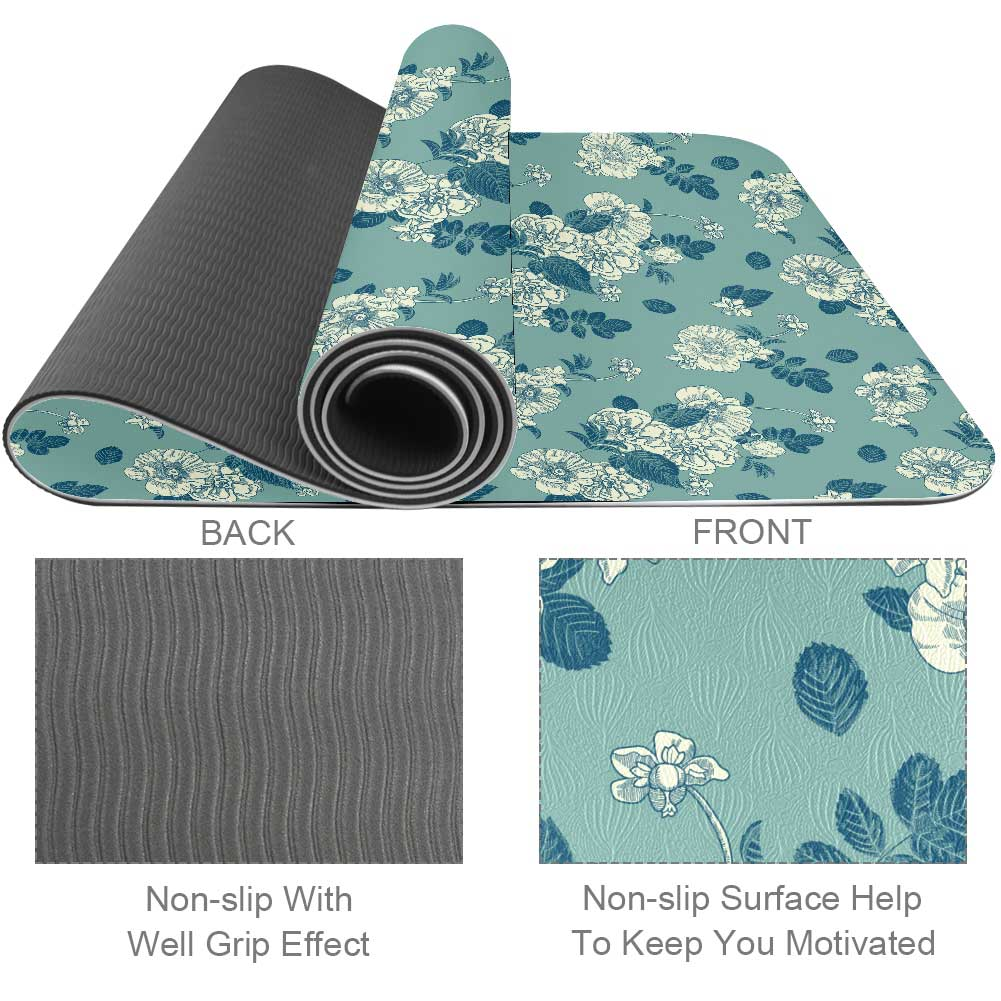 Floral Pattern Yoga Mat TPE Fitness with Strap - Lorvies