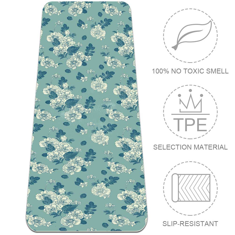 Floral Pattern Yoga Mat TPE Workout Fitness Non Slip with Strap - Lorvies