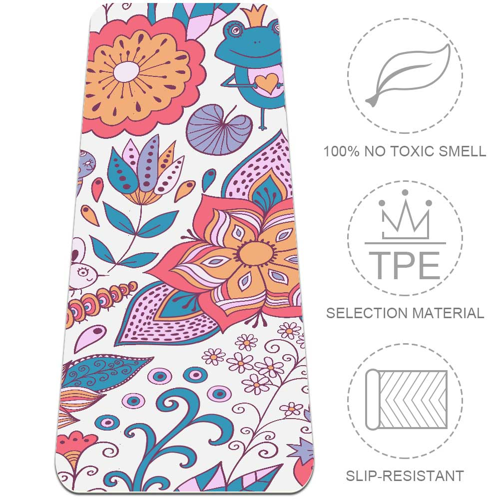 Flowers And Animals Yoga Mat