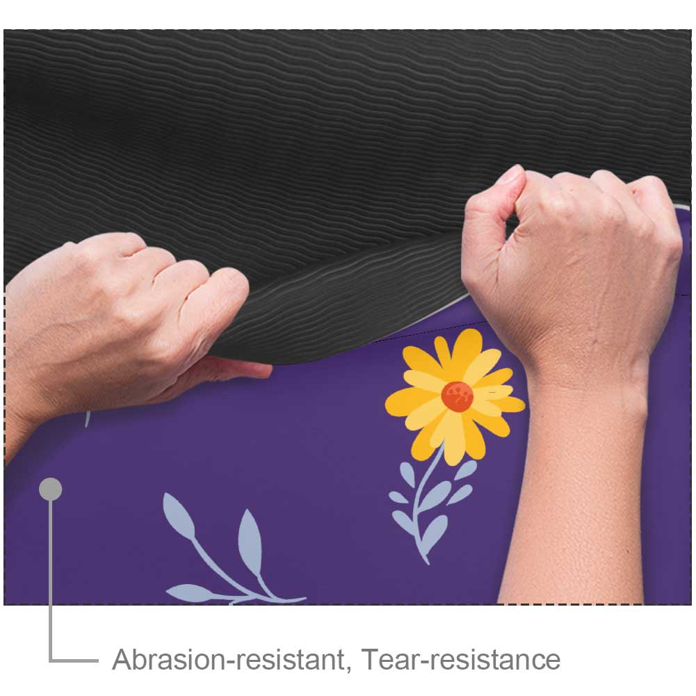 Essential Flowers And Purple Yoga Mat with Strap - Lorvies
