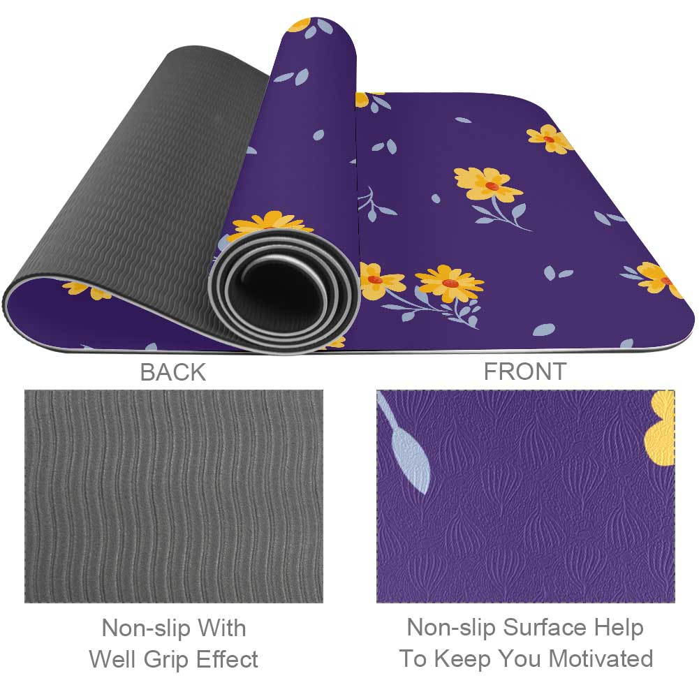 Essential Flowers And Purple Yoga Mat with Strap Workout - Lorvies