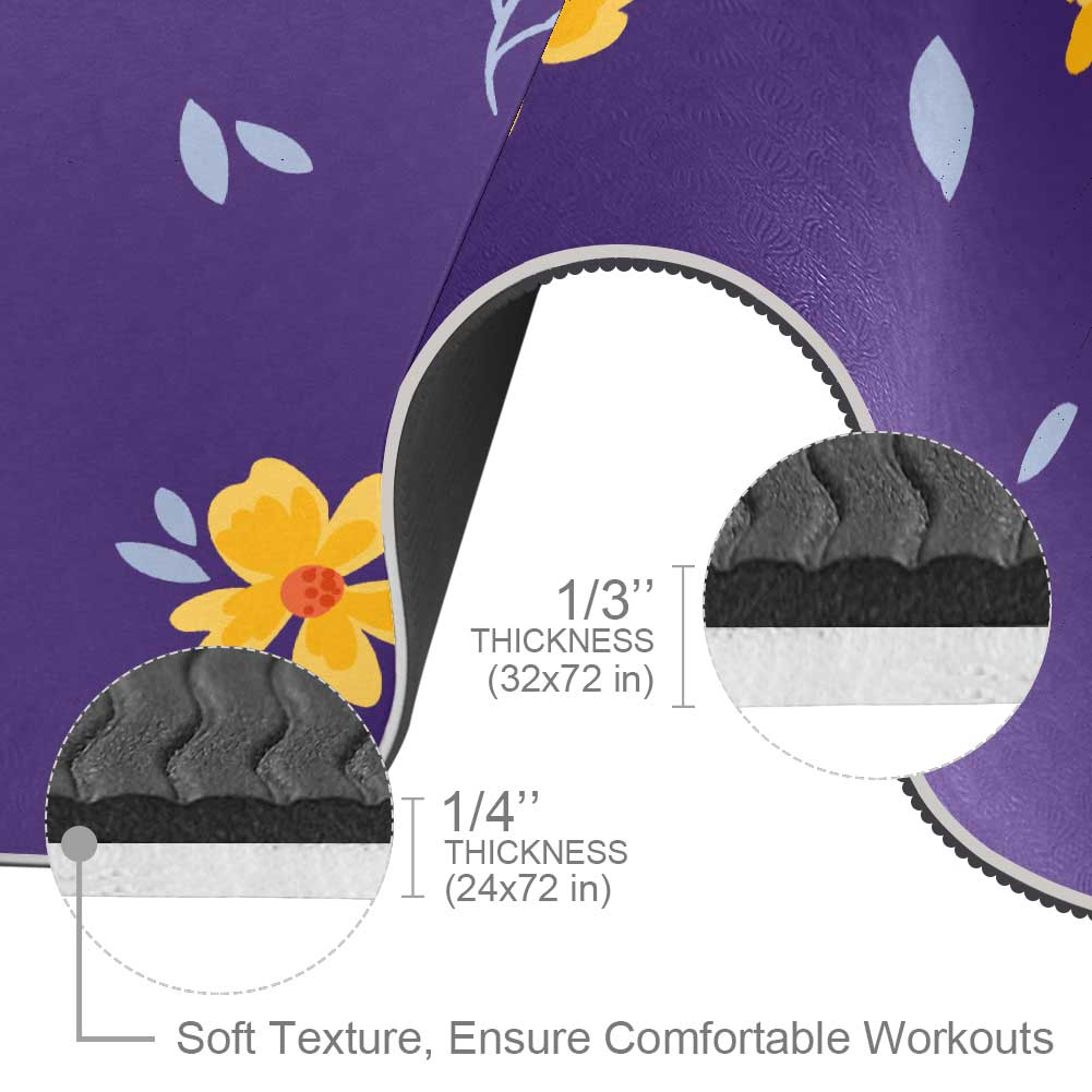 Essential Flowers And Purple Yoga Mat with Strap Workout Non Slip - Lorvies